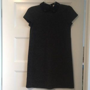 LOFT size small charcoal dress with beaded collar
